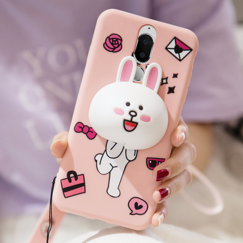 For Huawei Nova 2i case,Hengneker Cartoon 3D rabbit Silicone Fitted Case with Winding headphone cable for huawei honor 9i cover