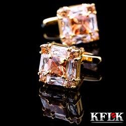 Kflk jóias para marca masculina de alta qualidade quadrado abotoaduras de ouro camisas abotoaduras moda casamento presente botão frete grátis