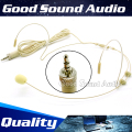 Beige 3.5 mm Jack Stereo Plug Double Earhook Head Worn Mic Headset Microphone Head-Mounted Mikrofon For Wireless System BodyPack