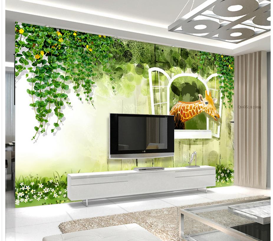 3d wall murals wallpaper green forest giraffe 3d tv photo for Custom wall mural