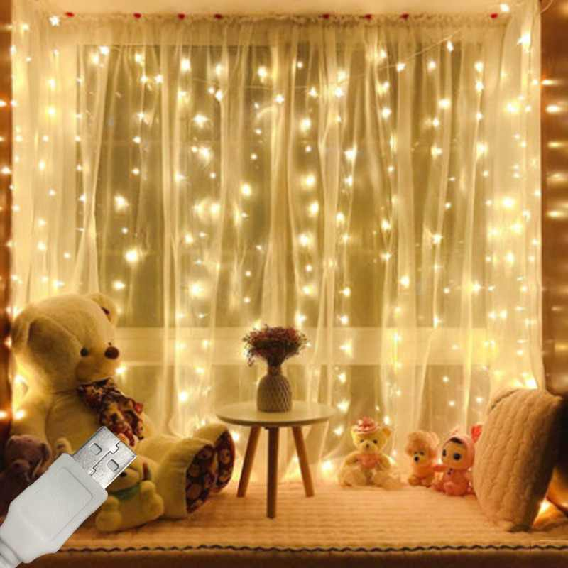 3m*3m USB Led Copper Wire Curtain Fairy String Light Christmas Silver Curtain Light Outdoor Home Garden Party Decoration