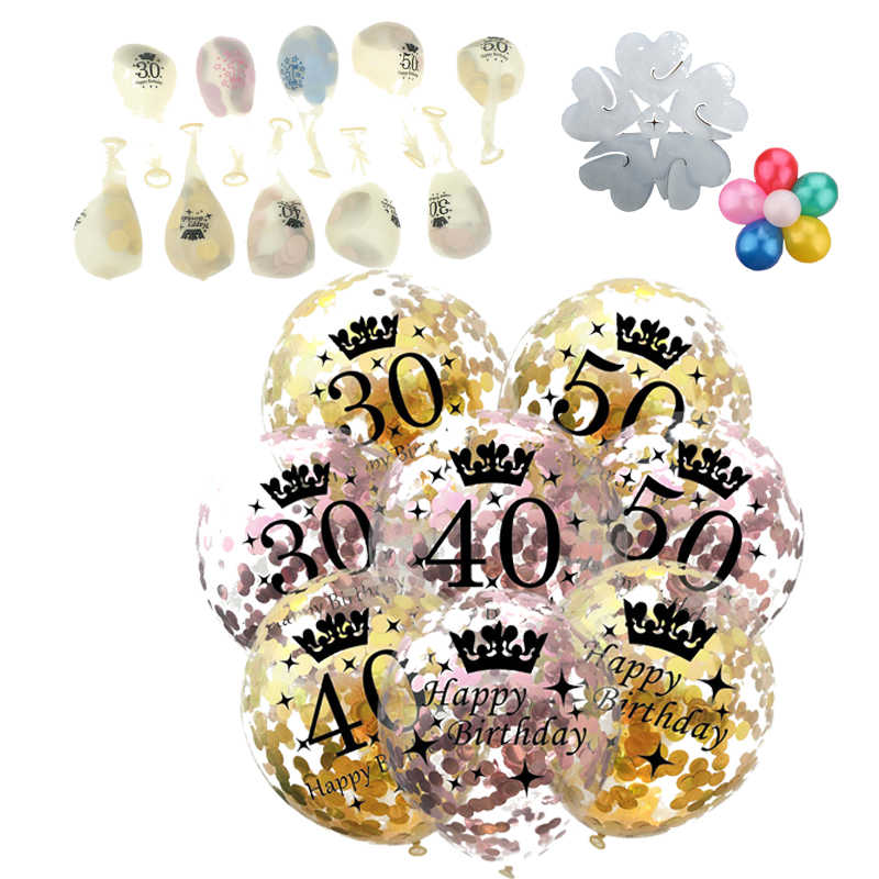 1pc 12 Polegada limpar ouro confetes balões látex 30 40 50 aniversário globos chá de fraldas feliz aniversário festa decoração presentes para adultos