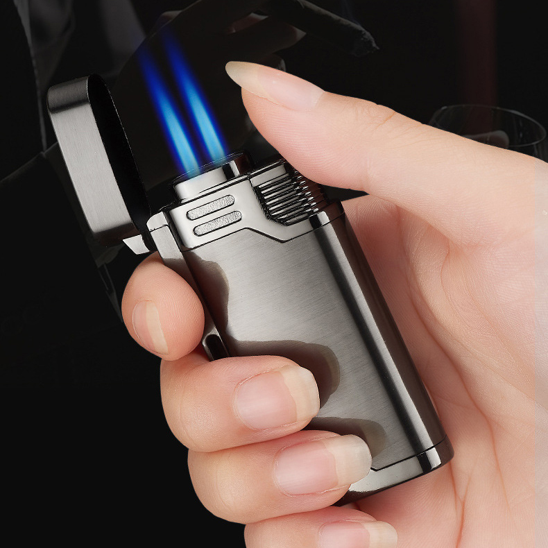 Two Nozzles Fire Bussiness Pipe Lighter Torch Turbo Lighter Jet Butane  Metal Lighter Cigarette 1300 C Fire Windproof No Gas