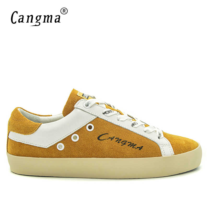 CANGMA Marka Ayakkabı Ayakkabı Adam Süet Ayakkabı Hakiki Deri Erkek Ayakkabı Yetişkin Rahat Erkekler Sarı Nefes Ayakkabı