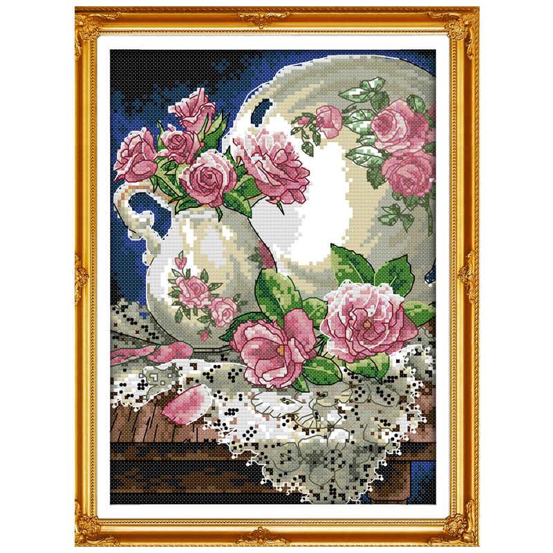 Ваза и Роза узоры Счетный вышивки крестом 11CT 14CT набор крестиков оптовая продажа цветок Набор для вышивания рукоделия