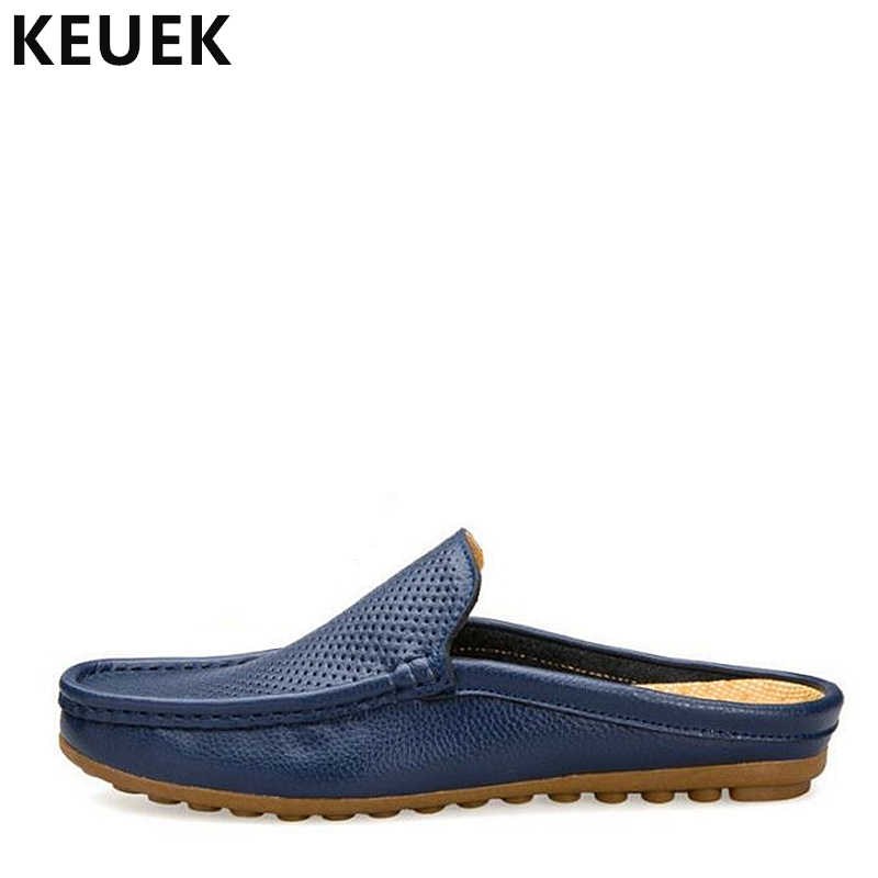 bc0714a733de Handmade Genuine leather Men Slippers Summer Half drag Loafers Hollow Out  beach shoes Male Slides Flats