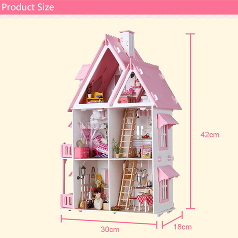 House Villa Miniature Wooden Doll House 3D Furniture Kits 42cm Height Princess Dream-House Birthday Gift ...