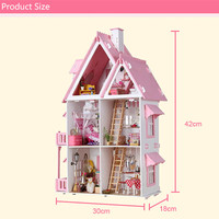 House Villa Miniature Wooden Doll House 3D Furniture Kits 42cm Height Princess Dream House Birthday Gift