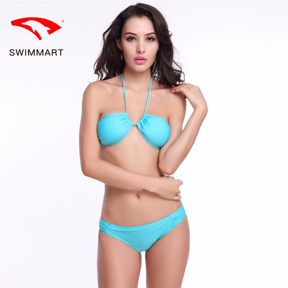 SWIMMART bikin high grade solid color hanging neck swimsuit swimwear women bikini push up bandeau bikini swim suit bathing suit in Bikinis Set from Sports Entertainment