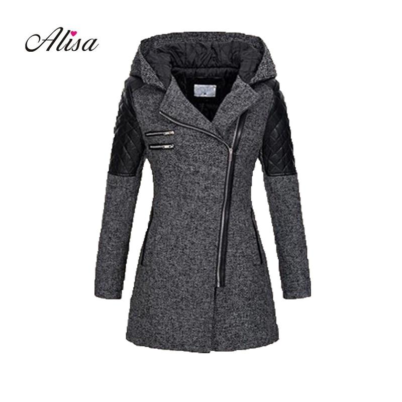 Casaco Plus Size 5xl Women Grey Wool Coat 2018 New Winter Long Sleeve Hooded Slim Woolen