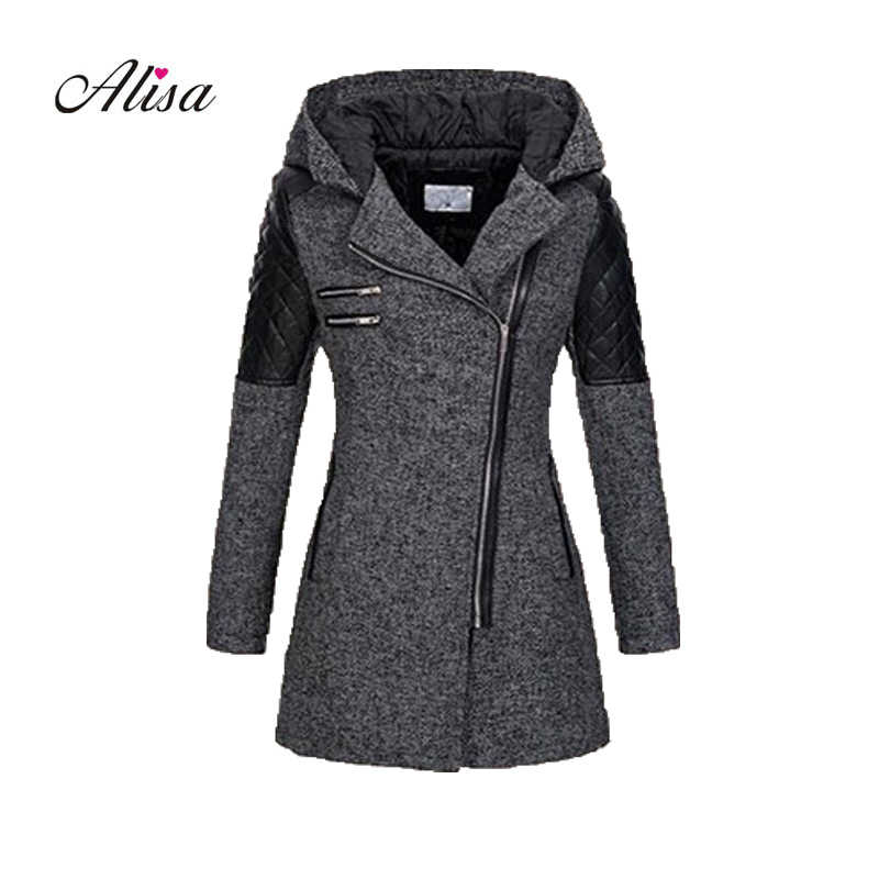 Casaco Plus Size 5xl Women Grey Wool Coat 2018 New Winter Long Sleeve Hooded Slim Woolen Overcoat Female Patchwor Keep Warm Coat