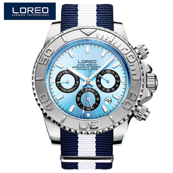a0ce7eb100cfa LOREO marque hommes montres de luxe automatique montre bleue hommes en acier  inoxydable 200 M étanche Sport d'affaires montre-bracelet mécanique