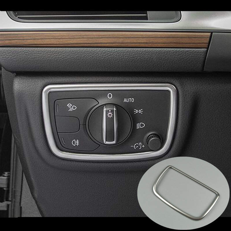 Dashboard Head Lamp Switch Decoration Frame Cover Stainless Steel Sticker Strips For Audi A6 C7 2012-2018 Auto Accessories