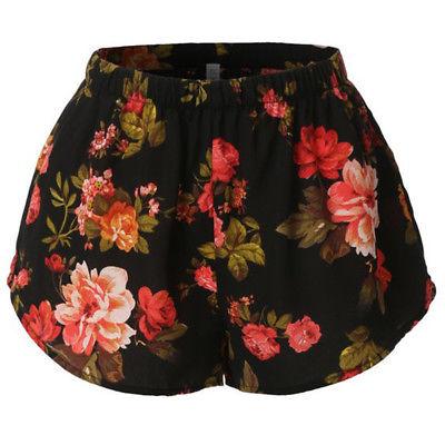 Hot Fashion Women Hot Pants Summer Casual Shorts High Waist Beach Sexy Short Pants Beach Flower Shorts Hot Pants