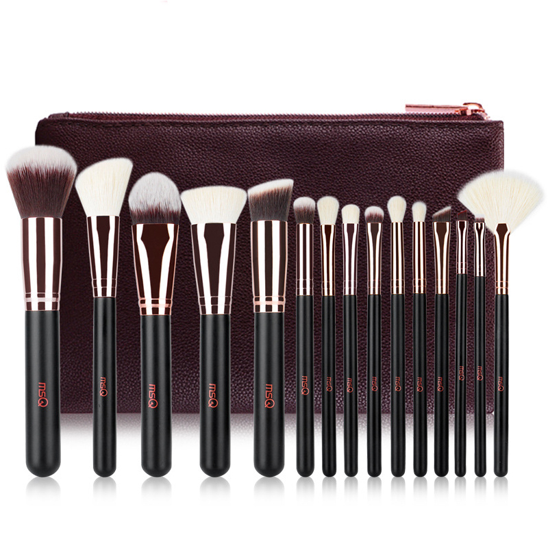 где купить 15pcs Rose Gold Professional Makeup Brush Set High quality wool brush beauty tool дешево