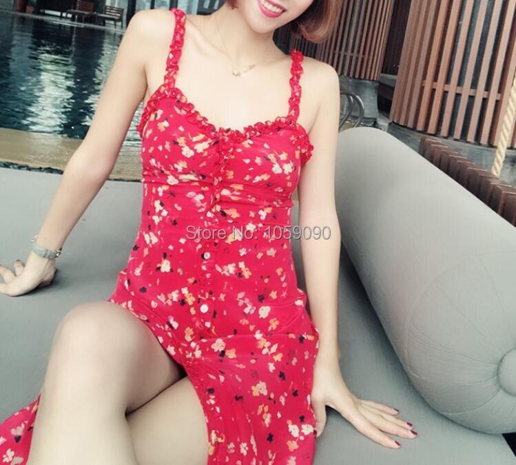 Seda La Moda Roja Cintura Sexy Blogger Botón Rojo Mujeres Vestido Frontal De Julieta 2018 Flor qEYw88