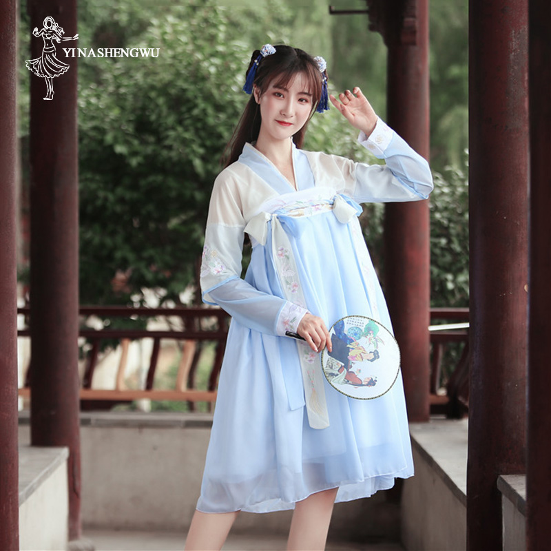 Hanfu Costume Dress Women Improved Hanfu Daily Short Sleeve Hanfu Embroidered Crossdresses Costumes Han Elements Student Set 32