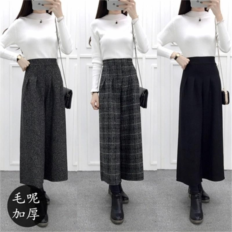 The new autumn and winter fashion ladies woolen waist   wide     leg     pants   pantyhose Korean yards   wide     leg   casual   pants   straight wild