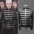 100% real mens rendimiento etapa franja plateada negro esmoquin chaqueta corta, sólo la chaqueta