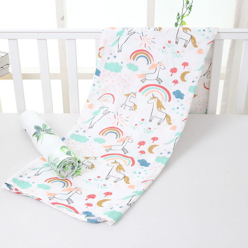 Karitree Muslin Cotton Baby Swaddles For Newborn Baby Blankets Black & White Gauze Bath Towel 70%bamboo+30%cotton