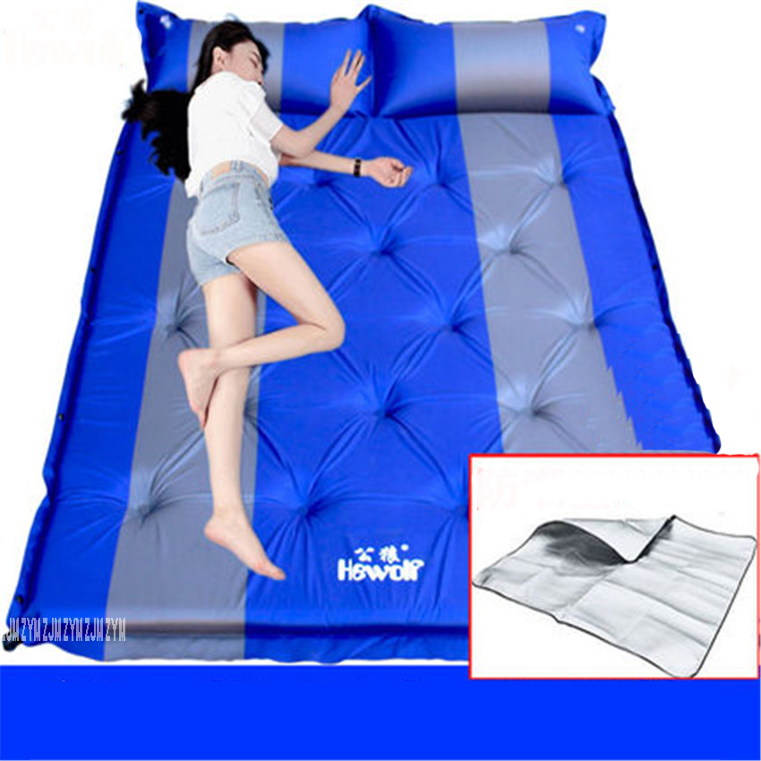 3 Person Automatic Inflatable Mattress Outdoor Camping Mat Pad Self-Inflating Moistureproof Picnic Tent Mat with Pillow 5cm outdoor camping green blue splicing automatic inflatable mattress one person self inflating moistureproof tent mat with pillow