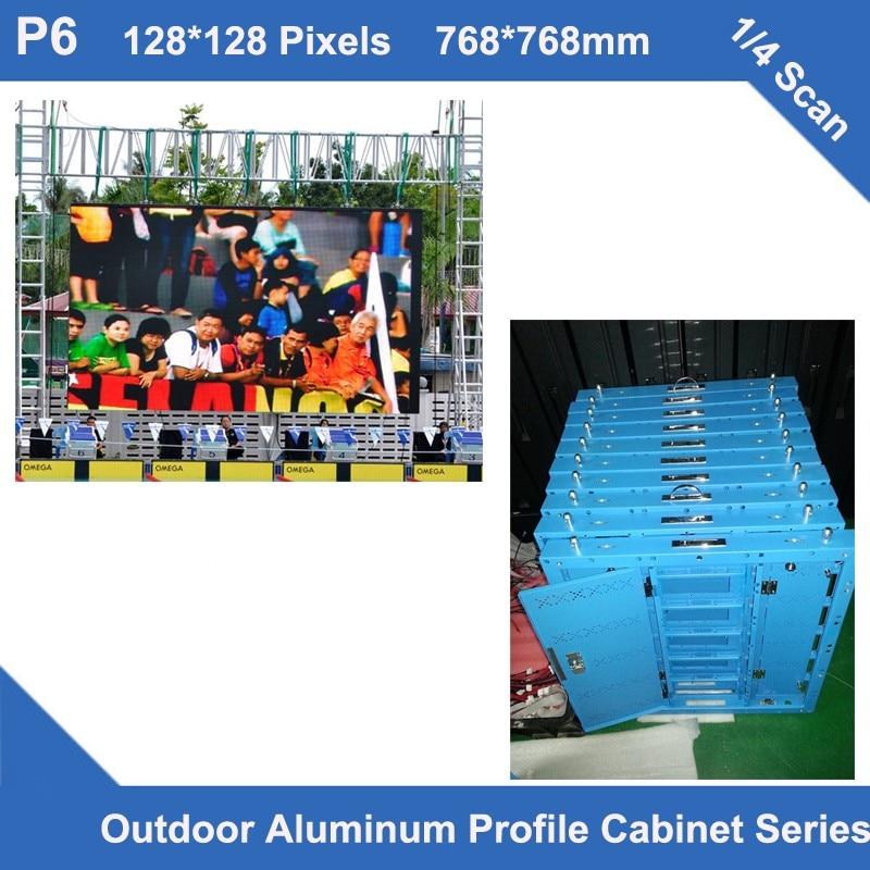 TEEHO 6pcs/lot Led Display Video Outdoor Waterproof P6 Aluminum Profile Cabinet 768mm*768mm Panel Led Video Screen Rental Fix