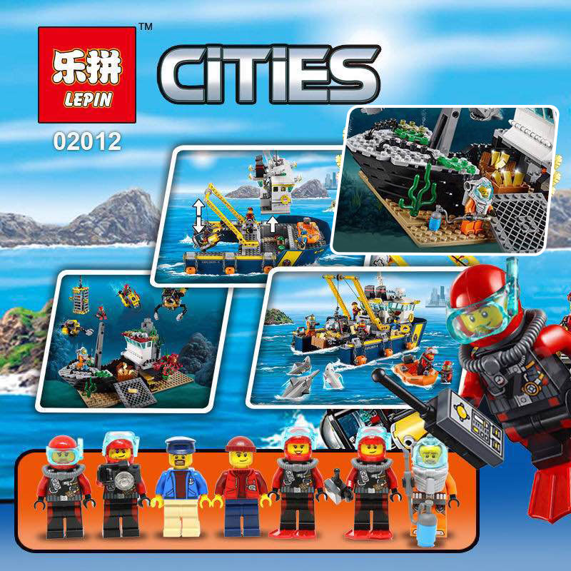 Lepin 02012 774Pcs City Series Deepwater Exploration Vessel Children Educational Building Blocks Bricks Toys Model Gift 60095 lepin 02012 city deepwater exploration vessel 60095 building blocks policeman toys children compatible with lego gift kid sets