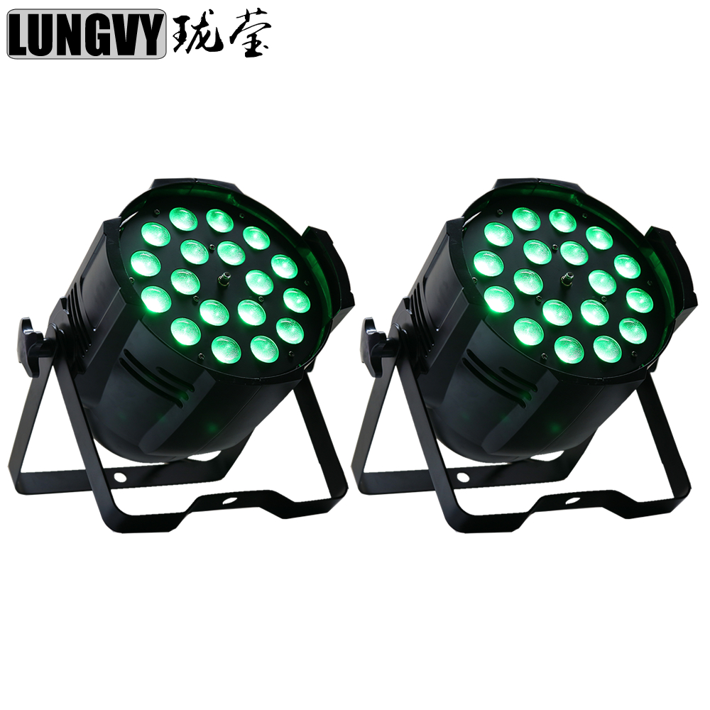 Free Shipping 2pcs/Lot 18x18w RGBWA UV 6IN1 LED Par Light Zoom IP20 DMX512 7CH/11CH Disco Stage Light