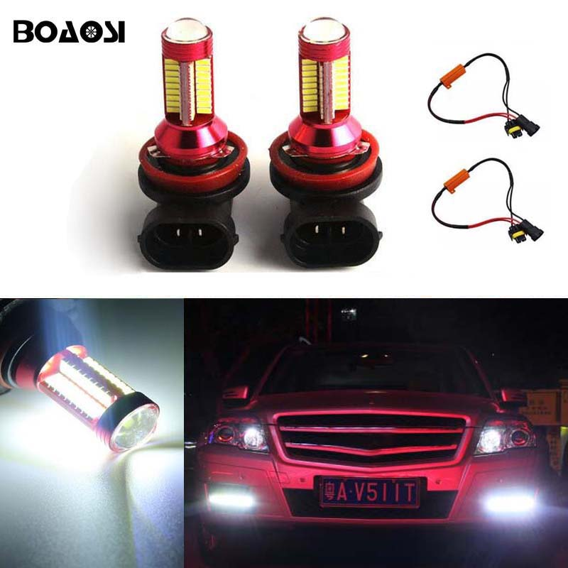 BOAOSI 2x H11 LED Fog DRL Light Bulb Lamp No Error For Mercedes Benz W212 W221 W211 W164 Car Accessories 2x led h11 h8 h9 h11 no error decoder 80w with cree chip car bulb light fog lamps drl headlights for bmw 3 e90 e92 x5 2002 2010