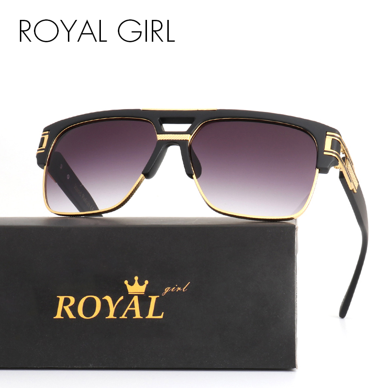 ROYAL GIRL TOP Quality Luxury Men Brand Sunglasses Vintage Oversize Square Sun Glasses Women Clear Glasses ss465