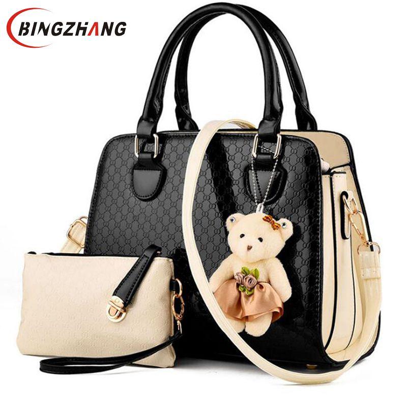 012966b9eb26 Detail Feedback Questions about New Fashion PU Leather Women Shoulder Bags  Elegant Alligator Pattern Women Messenger Bags bolsos 2 bags set w  Bear Toy  L8 ...
