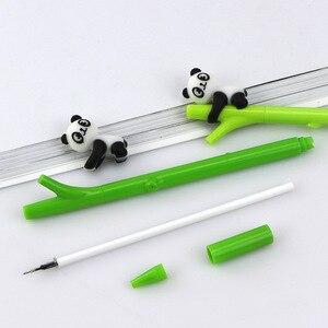Image 4 - Caneta de gel de panda kawaii, 32 pçs/lote, canetas para escritório e escrita de tinta preta de bambu, artigos de papelaria