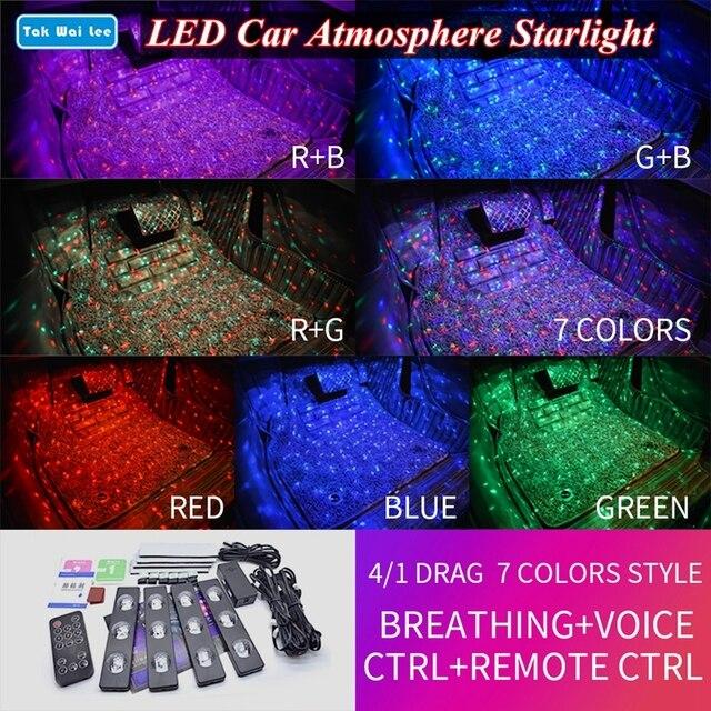Tak Wai Lee 4Pcs USB LED รถที่นั่งด้านล่างบรรยากาศ Starlight RGB Strip Light จัดแต่งทรงผม Breating Voice Remote CTRL โคมไฟภายใน