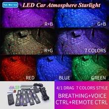 Tak wai lee 4 pçs usb led assento de carro inferior atmosfera luz de tira rgb estilo breating voz remoto ctrl lâmpada interior