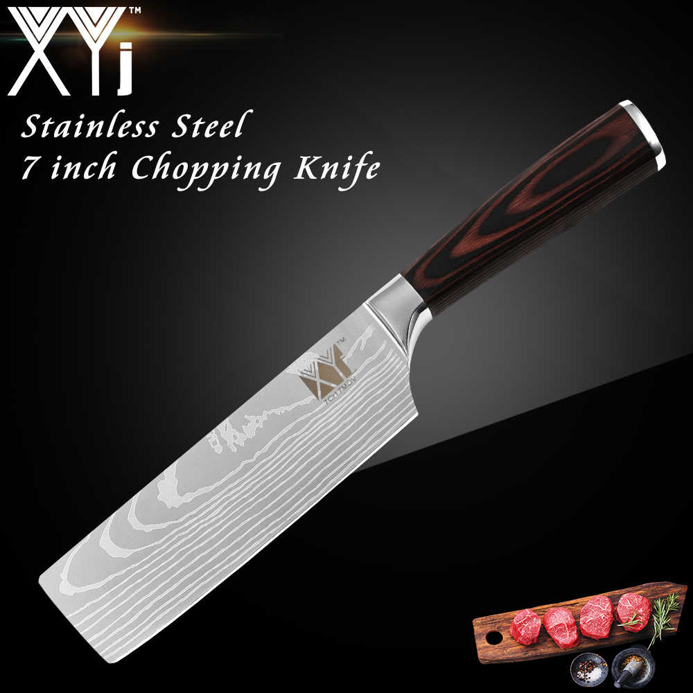 XYj 7 inch Chef Knife Kitchen Knife Japanese Butcher Meat Cleaver Vegetable Stainless Steel Nakiri Cooking Cutter Chooping Knife