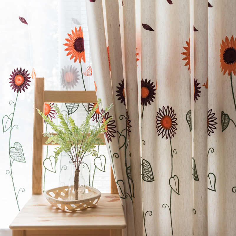 Cartoon Rustic Style Flower Embroidery Window Curtain For Living Room Bedroom Customize Finished Products Tulle Curtain M056#4