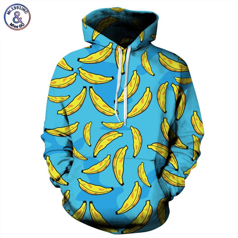 Mr 1991INC Autumn Winter New Fashion Men women Hooded Hoodies With Cap Print Banana 3d Sweatshirts