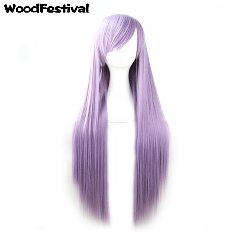 synthetic women wigs natural hair straight 100cm/80cm wig long black blonde brown blue green orange pink red purple WoodFestival