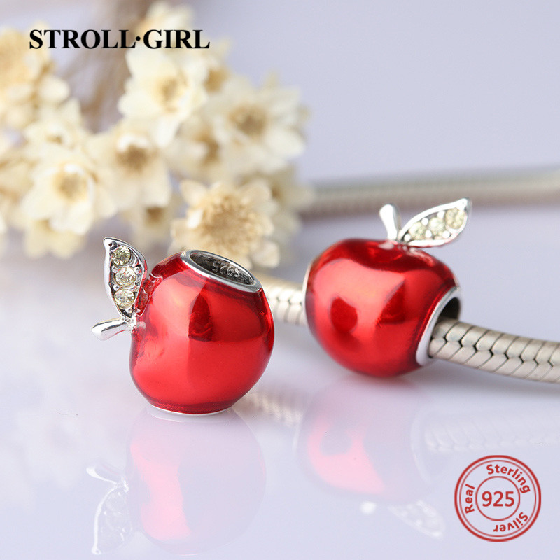 New Collection Silver 925 Beads Red Enamel Apple Charms Beads Fit European pandora Bracelets For Jewelry Making Christmas Gifts
