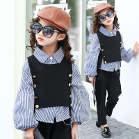 Teen Girls Clothing Sets 2018 Autumn New Suit Big Kids Long sleeved Shirts + Vest+Pants 3 Piece Girls Clothing Set 5 14 Y CLS225