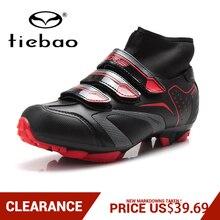 التخليص! TIEBAO المهنية الرجال النساء MTB دراجة الدراجات أحذية الشتاء الذاتي قفل عالية حذاء من الجلد الترياتلون الدراجة أحذية