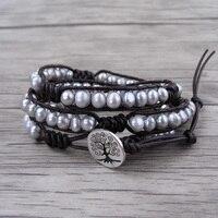 Real Freshwater Pearl Bracelet Boho Wrap Bracelet Grey Pearl Leather Bead Wrap Bracelet Boho Stack Pearl
