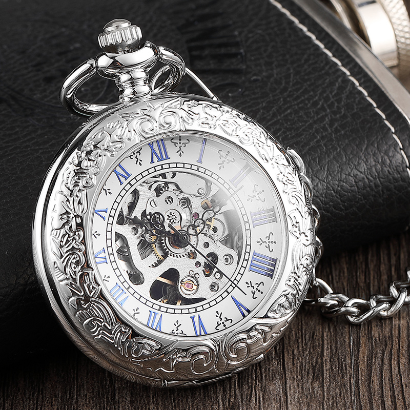 Luxury Silver Roman Number Dial Mens Mechanical Pocket Watch With Chain Elegant Carving Hollow Skeleton Pocket Watches Gifts Set