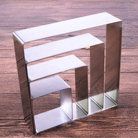 8pcs/set 3.5 10inch stainless steel square mousse ring set cheese cake candy chocolate mold baking tool ZA6874