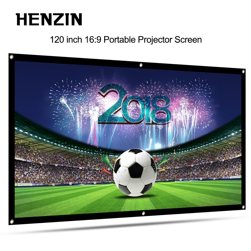 120 Inch 16:9 Portable Projector Screen Simple Foldable Projection Screen Front & Rear Polyester For Home Theater & Outdoor Use large screen rear projection lamp bulb big screen special p vip 100 120 1 3 e23h for rear tv rear projector