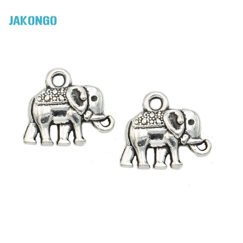 JAKONGO 25 stücke Antike Silber Überzogene Tiere Elefant Charms Anhänger für Europäische Armband Schmuck, Die DIY Handgemachten 12x14mm