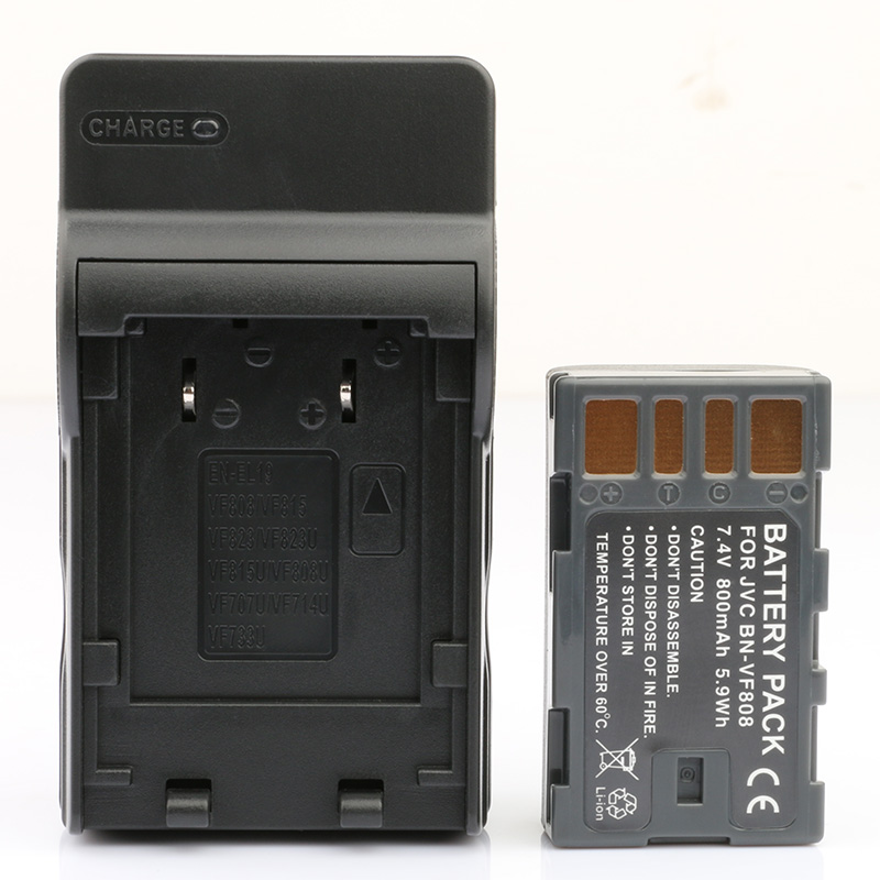 LANFULANG BN-VF808 BN VF808 Battery and Charger Kit for JVC MiniDV and Everio Camcorders BN-VF808AC BN-VF808U BN-VF818 BN-VF818U