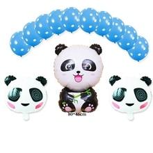 (13pcs/lot)Panda foil balloon set include latex ballon and panda head helium for baby birthday party