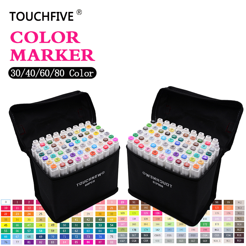 Touchfive 30/40/60/80/168Colors Pen Marker Set Dual Head Sketch Markers Brush Pen For Draw Manga Animation Design Art Supplies touchnew 30 40 60 80 168colors pen marker set dual head sketch markers brush pen for draw manga animation design art supplies