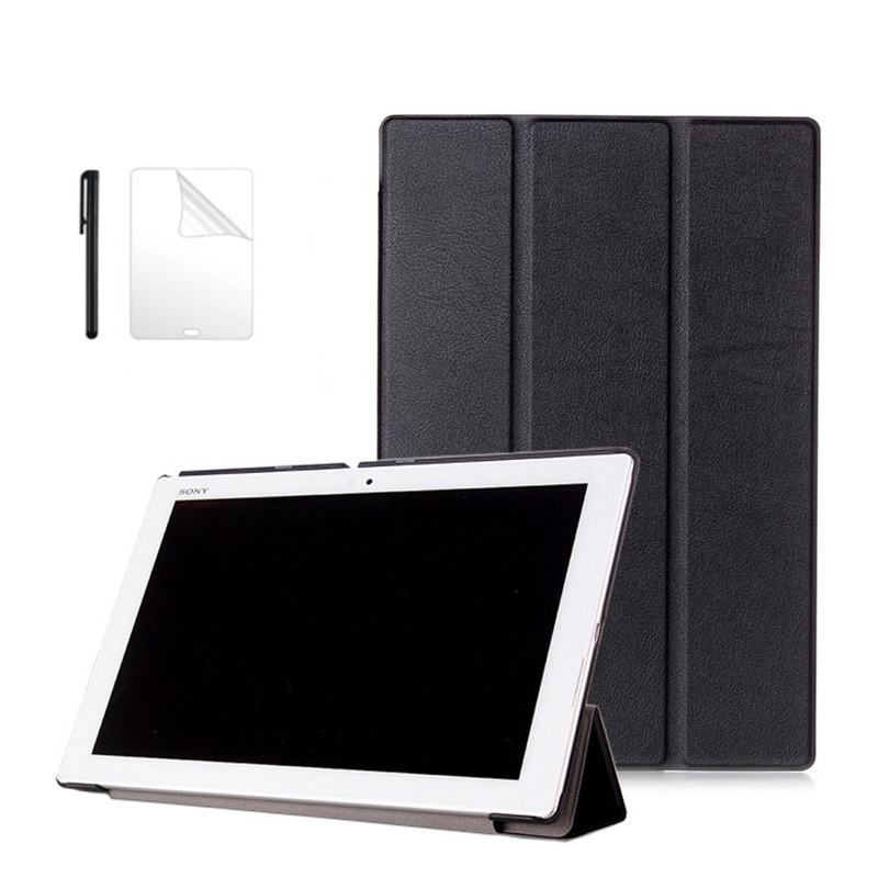Ultra Slim Flip PU Leather <font><b>Case</b></font> for <font><b>Sony</b></font> <font><b>Xperia</b></font> <font><b>Z2</b></font> 10.1 inch Magnetic Leather Stand Protective Funda <font><b>Tablet</b></font> <font><b>Case</b></font>+film+pen image